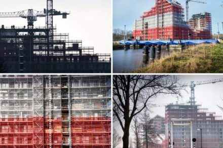 Construction of youth housing 'Woldring Location' in city of Groningen reaches highest point